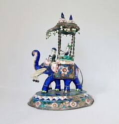 Antique Hand Painted Chinese Elephant Enamel On Metal 7 H 1379