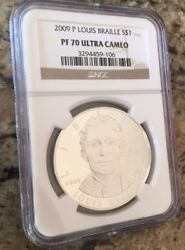 2009-p Louis Braille Silver Dollar 1 - Ngc Pf70 Uc- Population = 562 Buy Now