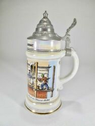 Masonic German Hand Painted Lidded Beer Stein With Lithophane Tankard 1384
