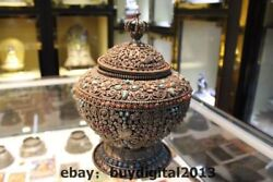 11 Old Tibet Buddhism Temple Silver Gem Turquoise Coral 8 Treasure Pot Jar