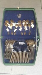 Set Of New 48 Vintage Silver Hallmark 875 Russian Cutlery With Case