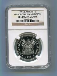 Proof 68 Mandela Ngc Pf68 South Africa Inauguration 1994 R1 Coin Super Rare Coin