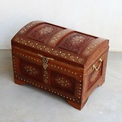 Wooden Box Treasure Pirate Chest Collectible Vintage Gift