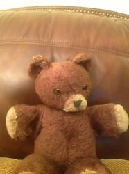 16 Antique Teddy Bear , Original Eyes,stitched Nose And Mouth, No Mark Or Tags.