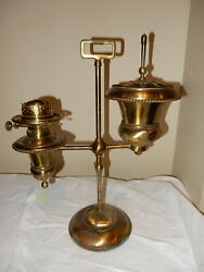 Rare Decorated B And H Keroene Oil Brass Parlor Table Student Lamp--p And A Burner