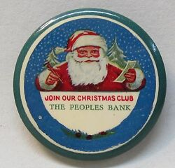Circa 1915 Join Our Christmas Club The People Bank Santa Claus Pocket Mirror