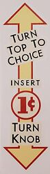 Northwestern Package Gum One Cent. Vending, Coin Op Water Slide Decal Dn 1033