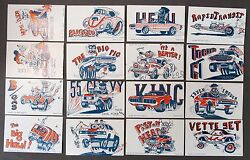 1972 Weird-ohs Cars Mint Set Of 16 Exhibit Supply Arcade Cards Nutty Mad Roth