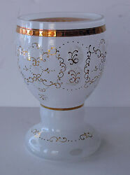 Bohemian Opal And Clear Glass Gilded, Enameled Goblet, Chalice 1900's