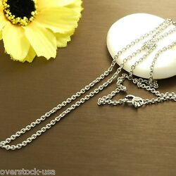 J.lee 17.7inch Authentic 18k White Gold Necklace 2mm O Link Chain / Au750