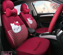 New Universal Hello Kitty Cartoon Universal Car Seat Covers Rose Red 1 Set 002-3