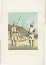 Antique Print Of The Guards Of Singo-sekar By Van Pers 1854