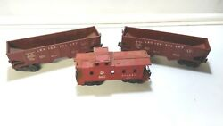 Vintage Lionel Two 6456 Hopper Cars Lehigh Valley, 6257 Caboose