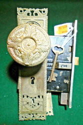 1905 Corbin And039st Cloudand039 Entry Mortise Lock W/ Keys Plates And Knobs - Nice 11186