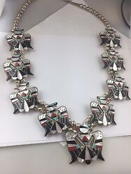 Museum Quality Zuni Bobby Corraine Shack Sterling Inlay Handmade Eagle Necklace