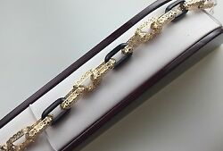 New 14 K Solid Gold Onyx 3 D Filigree Bracelet One Of A Kind Italy