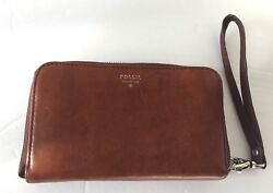 Fossil Cognac Saddle Brown Leather Zip Up Wallet with Organizer Wristlet 6.5