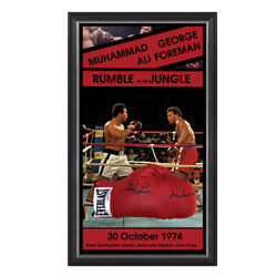 Rumble In The Jungle Hand Signed Framed Boxing Gloves Muhammad Ali Foreman