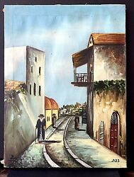 Judaica Scene Ancient Israeli City Safed Oil On Canvas Painting Signed By Artist