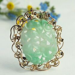 Vintage Large Chinese Export 14k Gold Carved Icy Jadeite Jade Pendant/brooch Pin