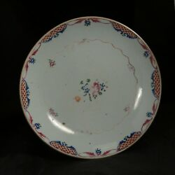Large 18th C Antique Chinese Famille Rose Plate / Chinese Lowestoft
