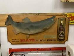 Rare 1966 Blatz Beer Sign With Bottle Coho Fish Lake Michigan Gas Oil Soda Cola
