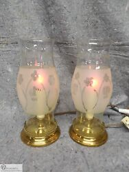 Vintage Pair Brass And Etched Glass Hurricane Lamps