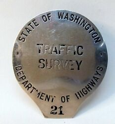 1930and039s State Of Washington Traffic Survey Dept Of Highways Badge Obsolete Police
