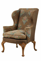 EARLY 20TH CENTURY WALNUT WING BACK ARMCHAIR