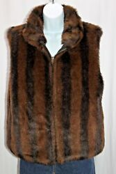 Coaco New York Women's Medium Faux Fur Mink Reversible Brown Black Vest Pockets