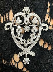 14k White Gold Antique Diamond Edwardian Style Pendant And Brooch 1 5/8 Ctw