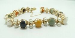 14k Y Gold Green/blue/white/yellow/red Jade And Pearl Bracelet 7.25 30g D8800