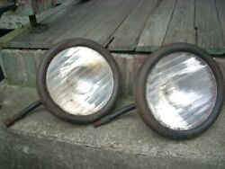 Original Pair Early Ford Model T Headlight Lamp Bucket Glass Assembly Housing