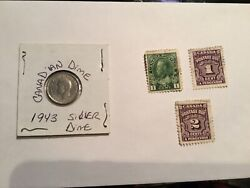 Canada George Vi Ten Cents Dime Silver 1943 Xf Flashy Stamp1c And Postage Due Lot