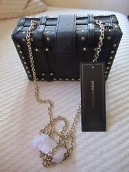 NWT BCBG Black Leather Clutch Crossbody Evening Bag Gold Studs Padlock Chain $124.99