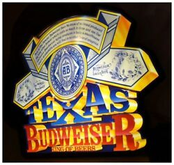 Vintage 24 Lrge Lighted 3d Texas Budweiser Beer Man Cave Promo Advertising Sign