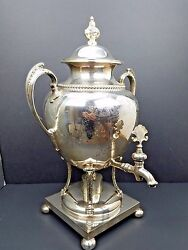 Sheffield Silver Plate Hot Water John Round And Sons Urn Samovar English Antique