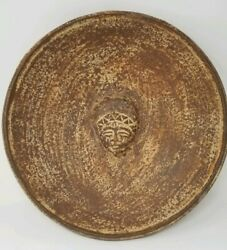 Mayan- Aztec Red Clay Terracotta Bowl With Center Facial Sculpture 13