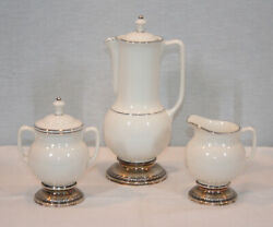 Rare Vintage Lenox T328 China Porcelain And Sterling Silver Base Coffee Set Mint