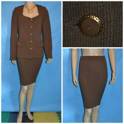 St. John Collection Knits Brown Jacket And Skirt L 12 14 2pc Suit Gold Buttons