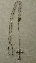 Antique Rosary Sterling Silver Crystal Facet Cut Roma Rome Italy