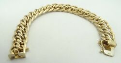 14k Yellow Gold 11.4mm Textured And Smooth Woven Link Bracelet 7.75 D6282