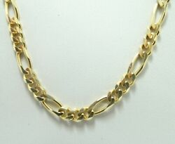 14k Yellow Gold 4.5mm Italian Dia. Cut Figaro Link Chain Necklace 20.5 D8137