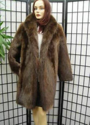 Brand New Natural Canadian Long Haired Beaver Fur Coat Jacket Women Woman Sz All