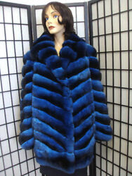 BRAND NEW RANCHED BLUE CHINCHILLA FUR JACKET COAT WOMEN WOMAN