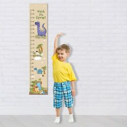 Personalised Boys Girls Height Measure Canvas Growth Wall Chart Dinosaur Design