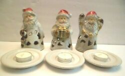 3 ~ Sets Glazed Terracotta Santa Pierced Tea Lite Candle Holder with Dish  NEW