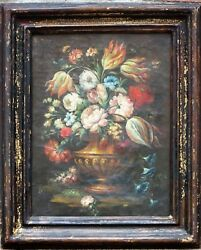 Pair Antique Dutch School Floral Still Life Oil Paintings