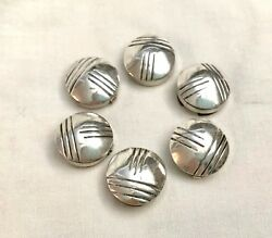 Vintage Set Of 6 Hand Etched Sterling Silver Native American Button Covers
