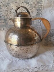 Antique Vtg Silver Plate Teapot Wicker Handle Eg Webster And Sons Hand Hammered
